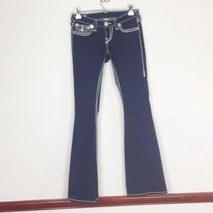 "TRUE RELIGION 32"" Inseam dark blue flare leg jeans"